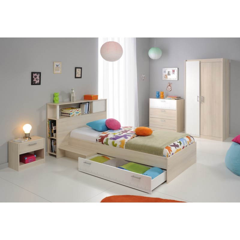 T te de lit design avec rangement junior fille gar on alex - Chambre junior garcon ...