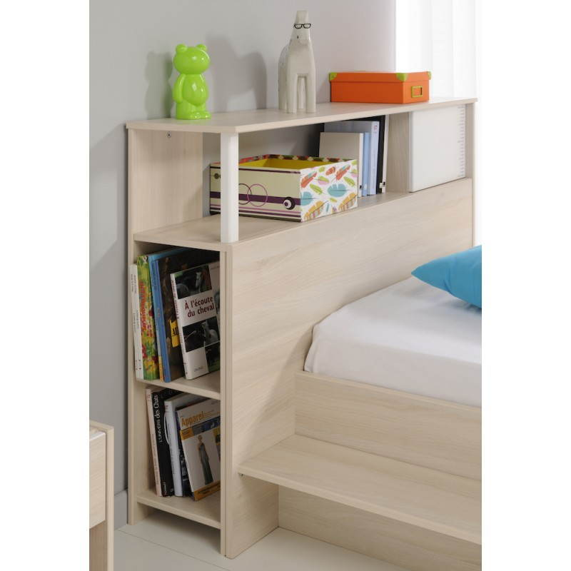 T te de lit design avec rangement junior fille gar on alex blanc beige fr ne - Lit avec tete de lit design ...