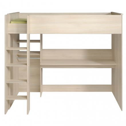 Bed elevated with desk and closet junior girl boy design SACHA (beige, clear acacia)