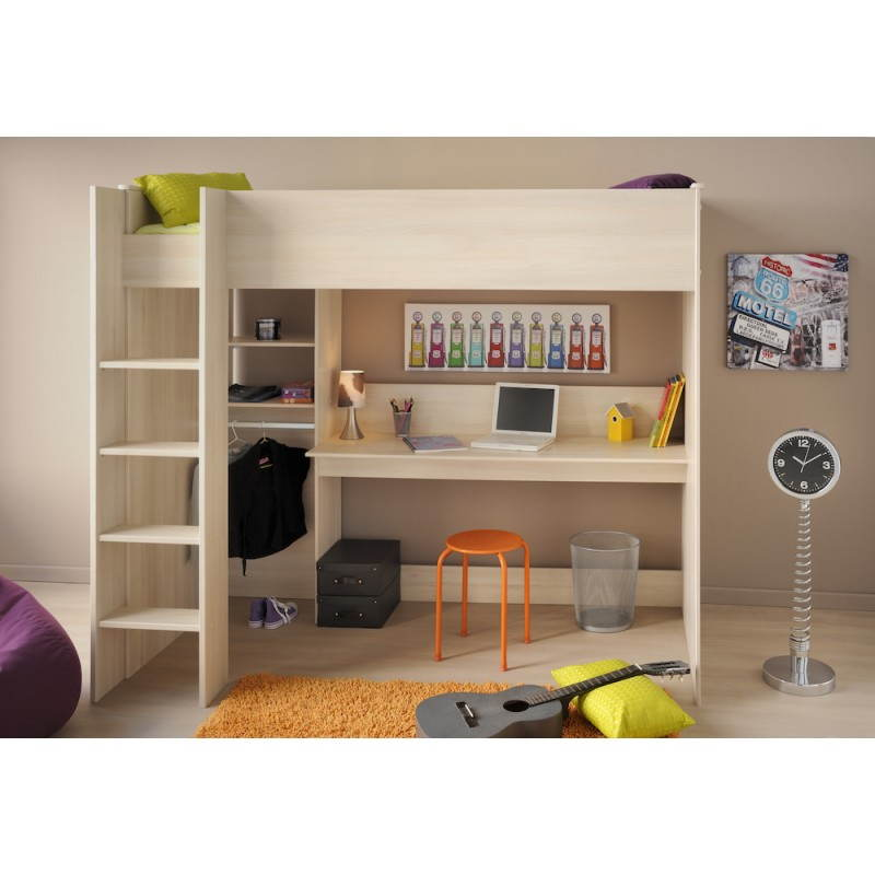 lit sur lev avec bureau et penderie junior fille gar on. Black Bedroom Furniture Sets. Home Design Ideas