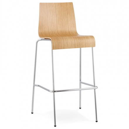 Design barstool SAÔNE in wood and chrome metal (natural)