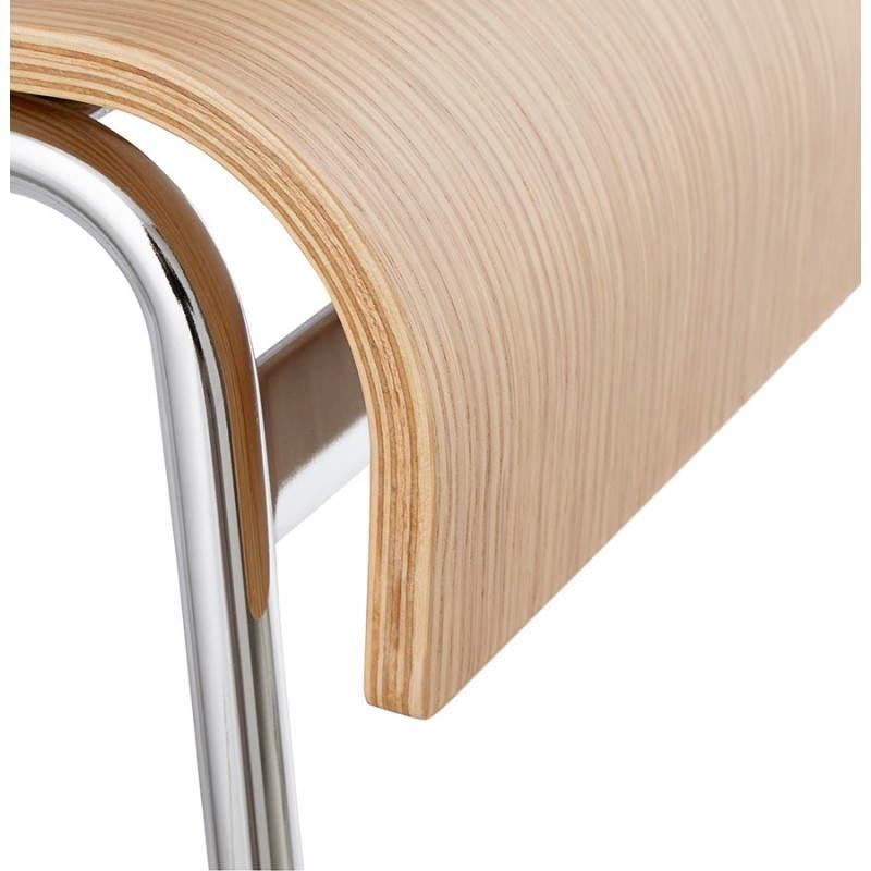 Tabouret de bar design SAONE en bois et métal chromé (naturel) - image 27515