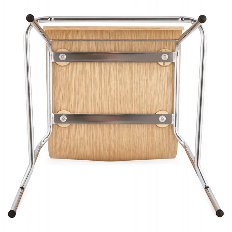 Tabouret de bar design mi-hauteur SAONE MINI en bois et métal chromé (naturel) - image 27534