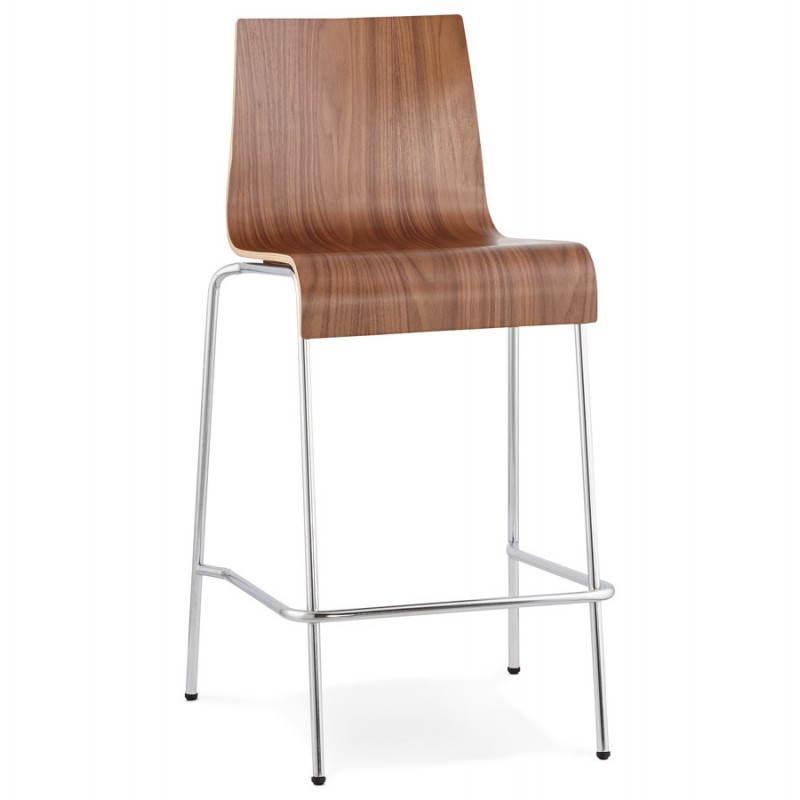 Tabouret de bar design mi-hauteur SAONE MINI en bois et métal chromé (noyer) - image 27538