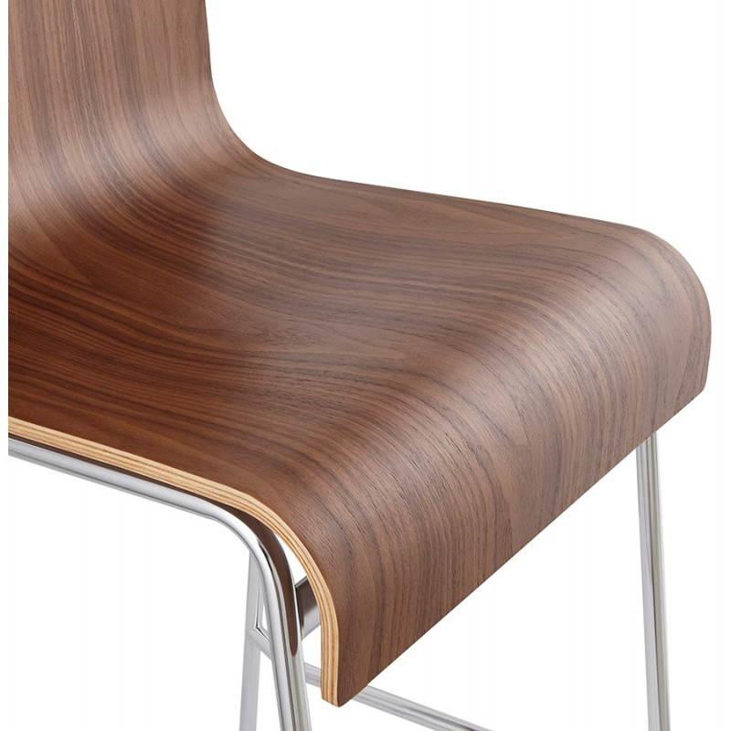 Tabouret de bar design mi-hauteur SAONE MINI en bois et métal chromé (noyer) - image 27543