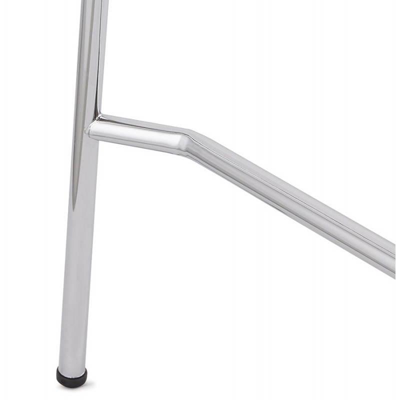 Tabouret de bar design mi-hauteur SAONE MINI en bois et métal chromé (noyer) - image 27546
