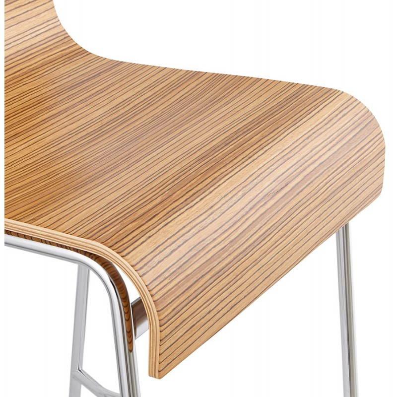 tabouret de bar design mi hauteur saone mini en bois et m tal chrom z brano. Black Bedroom Furniture Sets. Home Design Ideas