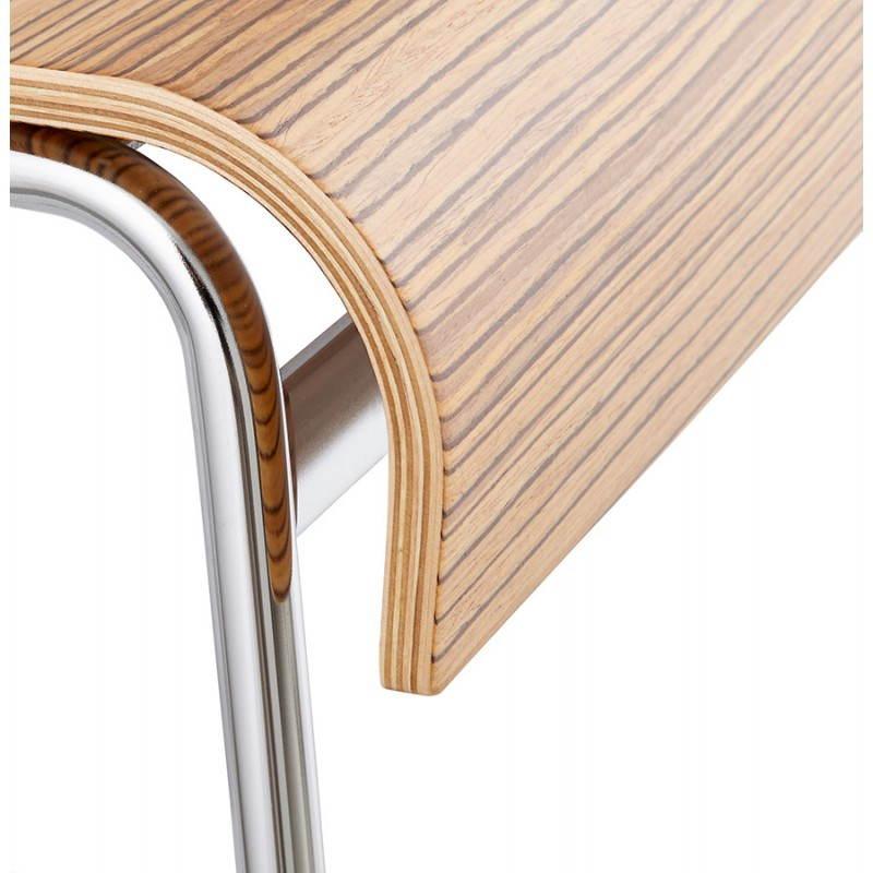 Tabouret de bar design mi-hauteur SAONE MINI en bois et métal chromé (zébrano) - image 27560