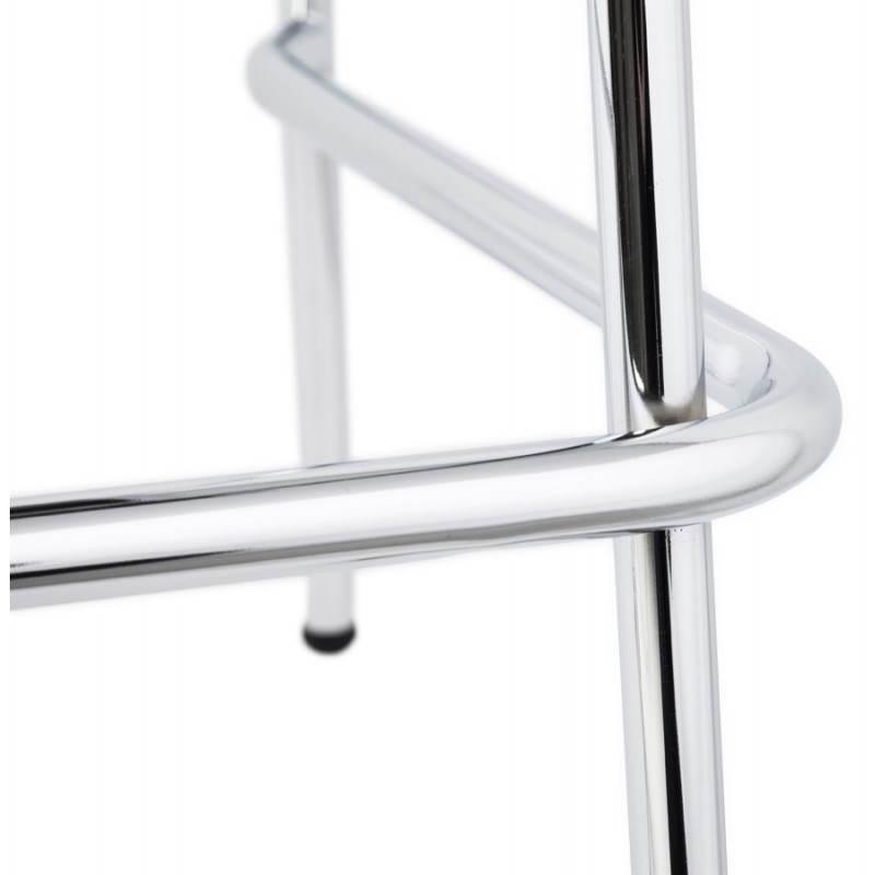 Tabouret de bar design mi-hauteur SAONE MINI en bois et métal chromé (zébrano) - image 27563