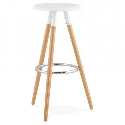 Stool wood of Scandinavian design bar 3 feet PIERROT (white, natural)