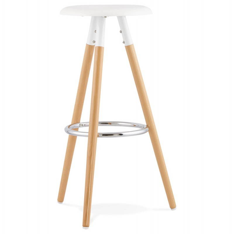 Tabouret bois de bar design scandinave 3 pieds pierrot blanc naturel for Siege de bar design