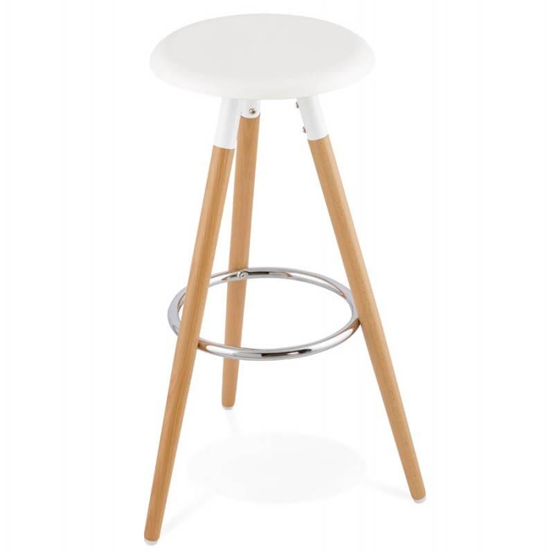 Tabouret bois de bar design scandinave 3 pieds PIERROT (blanc, naturel) - image 27572