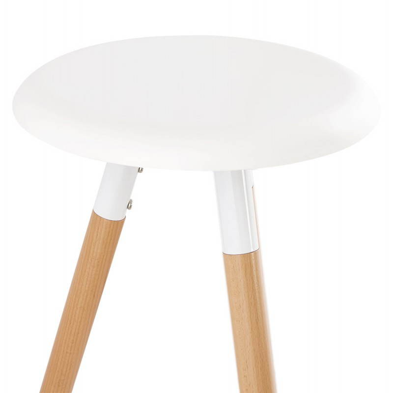 Tabouret bois de bar design scandinave 3 pieds PIERROT (blanc, naturel) - image 27573