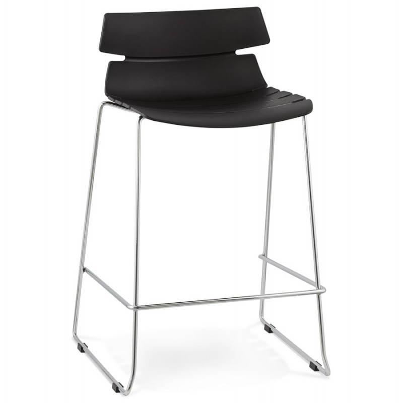 Tabouret de bar mi-hauteur design BRIO en polypropylène (noir) - image 27594