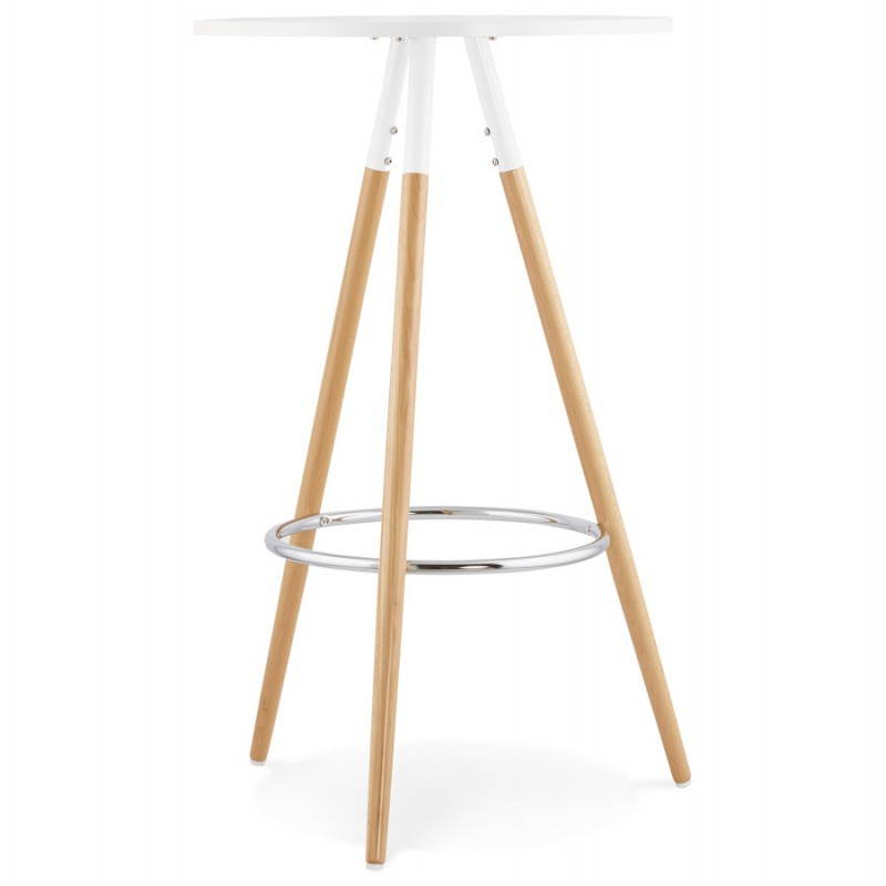 Table haute ronde scandinave JULIE en bois (Ø 65 cm) (blanc, naturel) - image 27611