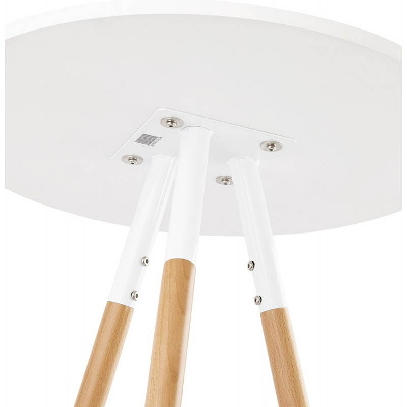 Table haute ronde scandinave JULIE en bois (Ø 65 cm) (blanc, naturel) - image 27616