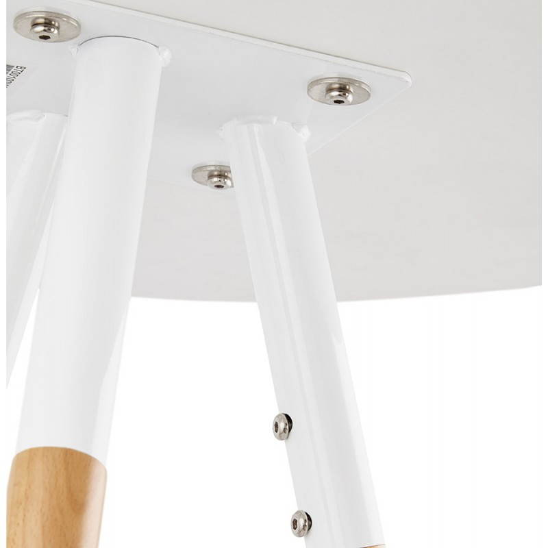 Table haute ronde scandinave JULIE en bois (Ø 65 cm) (blanc, naturel) - image 27618