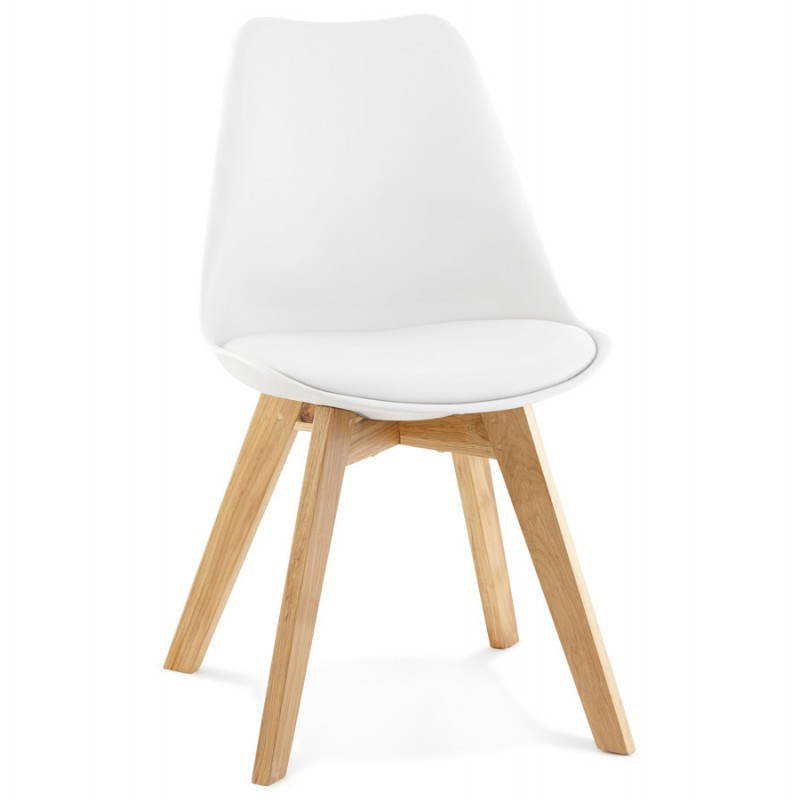 Chaise contemporaine style scandinave fjord blanc for Chaise moderne blanc et bois