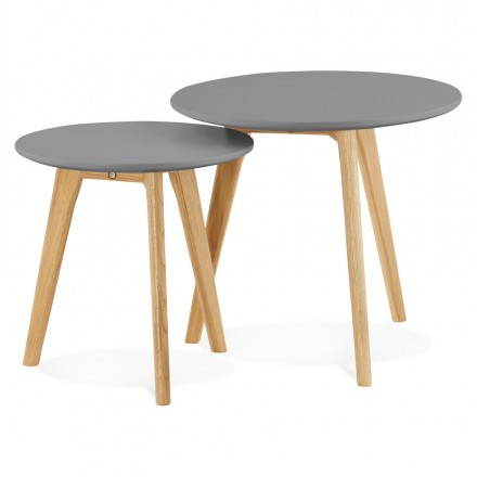Tables basses design gigognes art en bois et ch ne massif gris fonc - Tables basses gigognes design ...