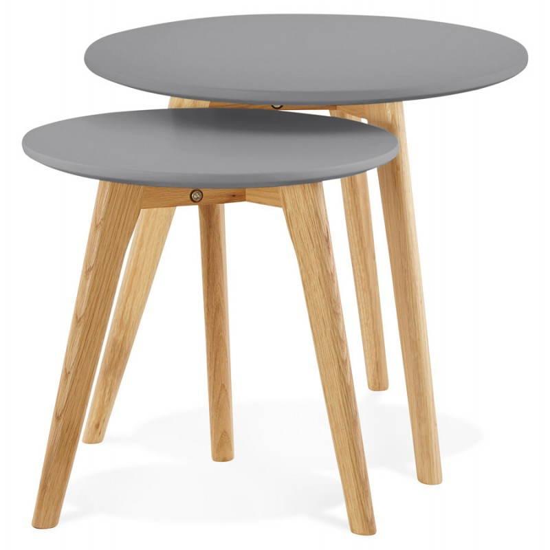 Tables basses design gigognes ART en bois et chêne massif (gris foncé) - image 27782