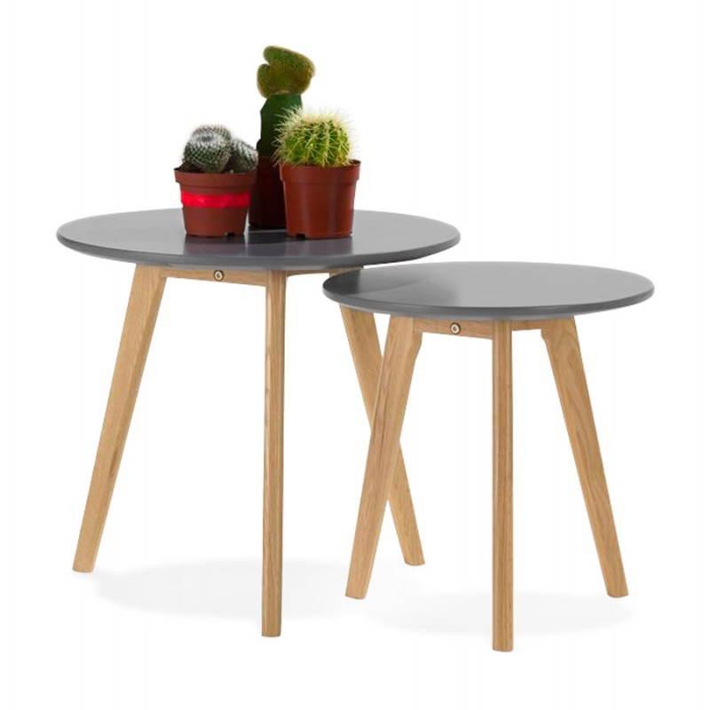 Tables basses design gigognes ART en bois et chêne massif (gris foncé) - image 27791