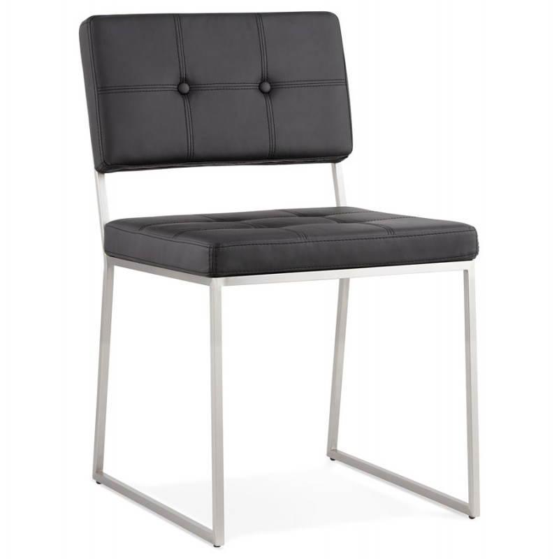 Chaise design capitonn e et rembourr e bouton noir for Acheter chaise design