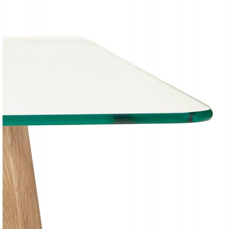 Table basse rectangulaire style scandinave HENNA en verre et chêne (transparent) - image 27876
