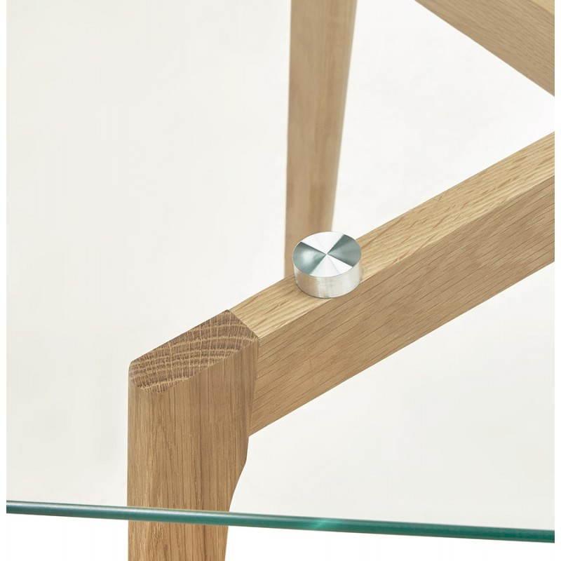 Table basse rectangulaire style scandinave HENNA en verre et chêne (transparent) - image 27877