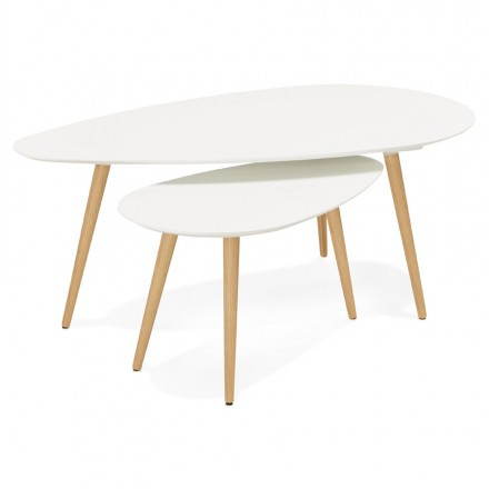 Coffee Tables Design Oval Nesting Golda In Wood And Oak White Amp Story 3990