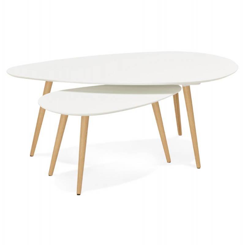 Tables basses design ovales gigognes GOLDA en bois et chêne massif (blanc) - image 27896