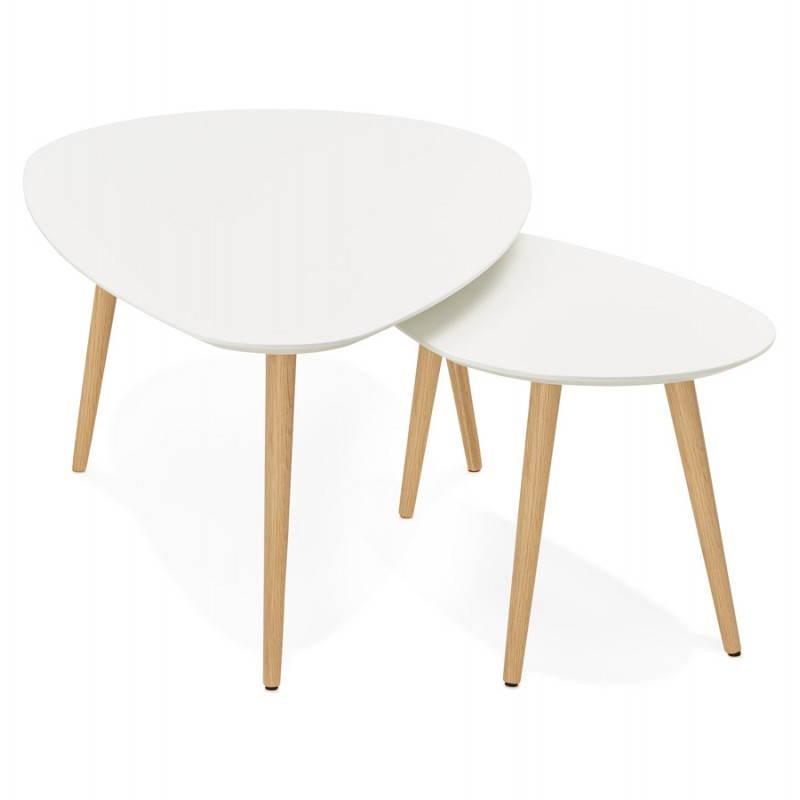 Tables basses design ovales gigognes GOLDA en bois et chêne massif (blanc) - image 27897