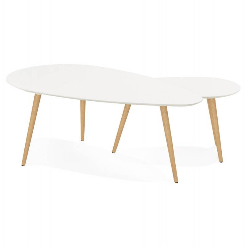 Tables basses design ovales gigognes GOLDA en bois et chêne massif (blanc) - image 27898