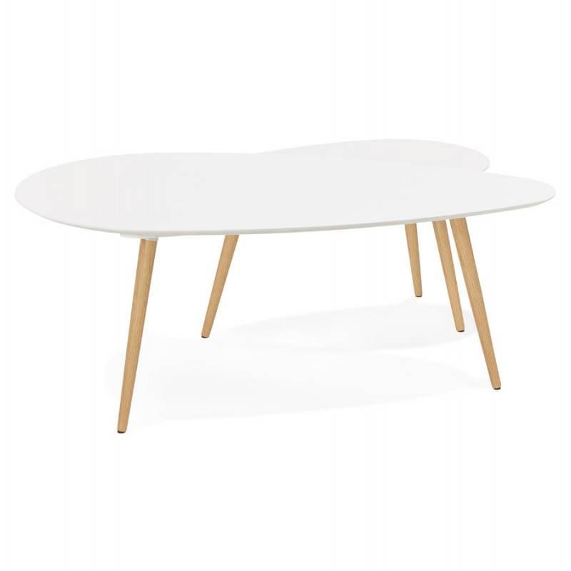 Tables basses design ovales gigognes GOLDA en bois et chêne massif (blanc) - image 27899