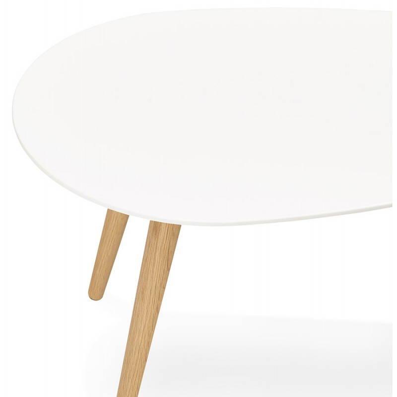 Tables basses design ovales gigognes GOLDA en bois et chêne massif (blanc) - image 27900