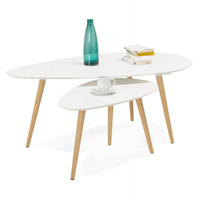 Tables basses design ovales gigognes golda en bois et ch ne massif blanc - Tables basses gigognes ...