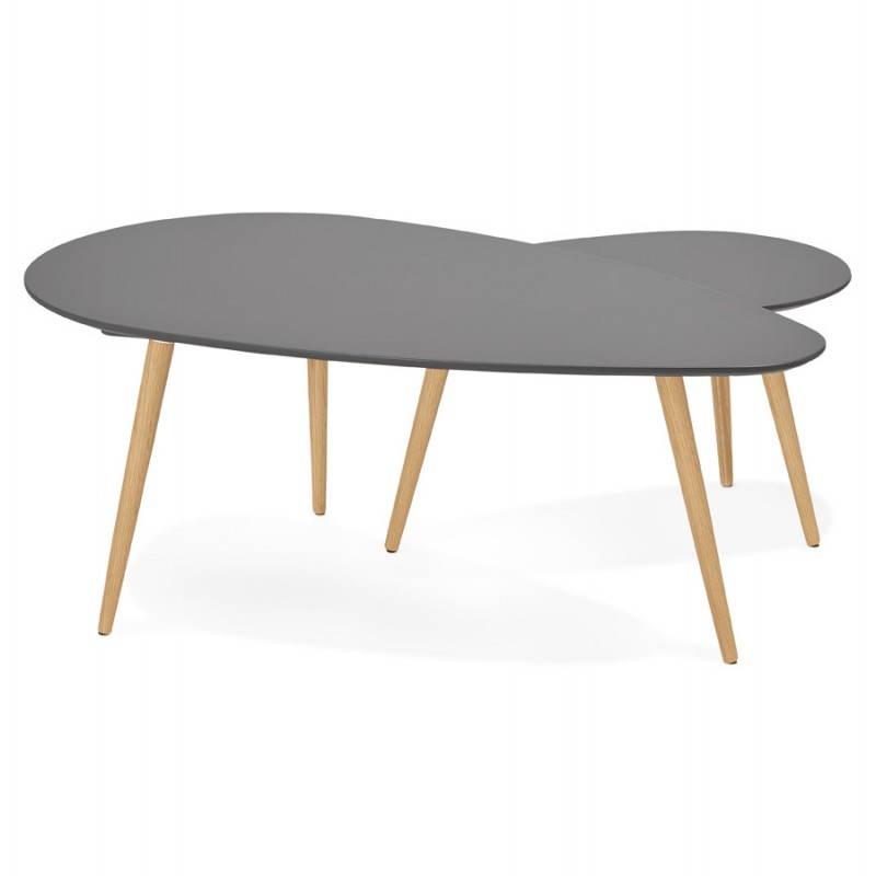 Tables basses design ovales gigognes GOLDA en bois et chêne massif (gris foncé) - image 27913