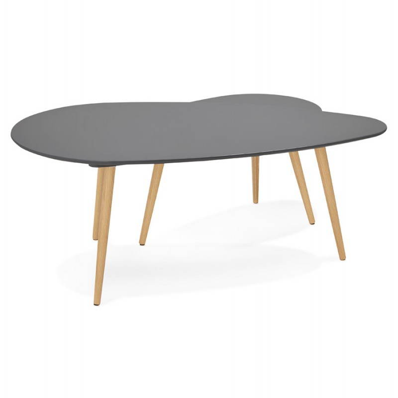 Tables basses design ovales gigognes GOLDA en bois et chêne massif (gris foncé) - image 27914