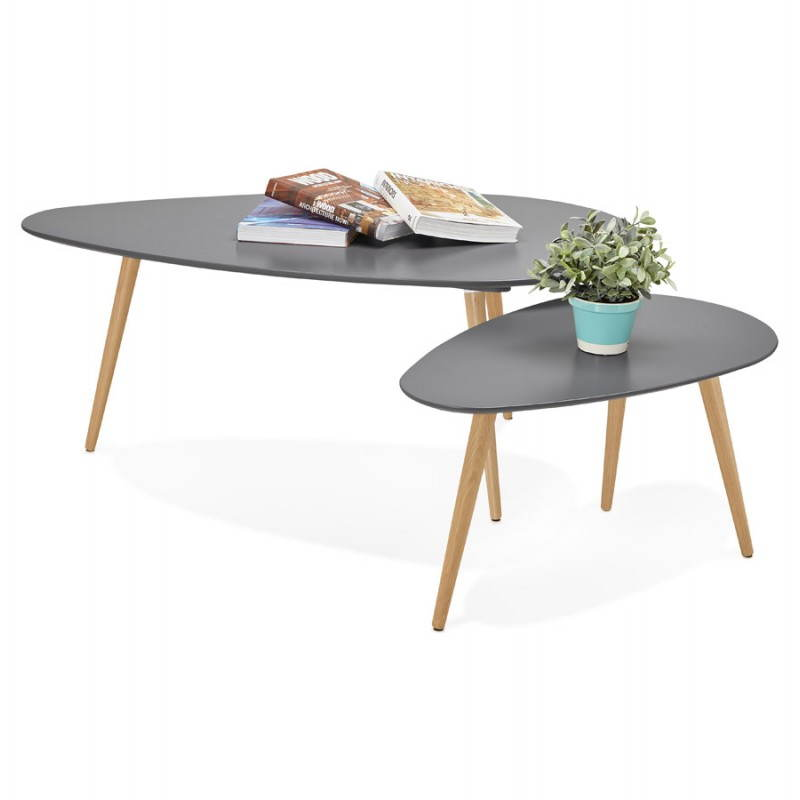 Tables basses design ovales gigognes golda en bois et - Table gigogne design ...