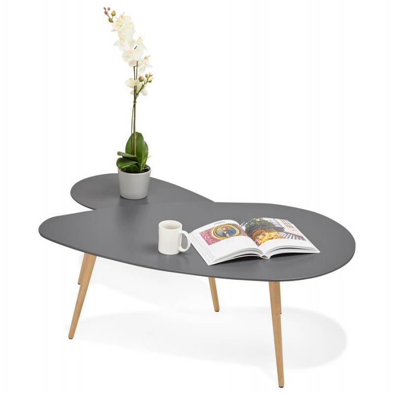 Tables basses design ovales gigognes golda en bois et for Table basse en bois gris