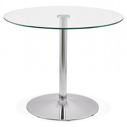 Diseño redondo OLAV comedor en vidrio y cromado (Ø 90 cm) tabla del metal (transparente)