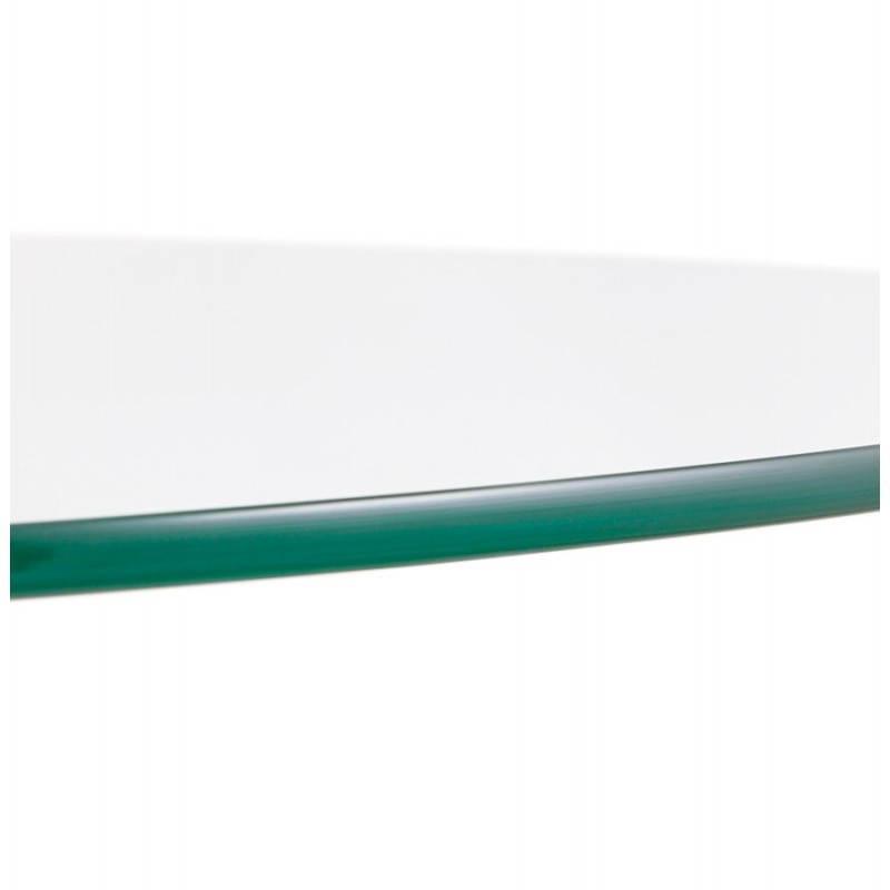 Diseño redondo OLAV comedor en vidrio y cromado (Ø 90 cm) tabla del metal (transparente) - image 27941