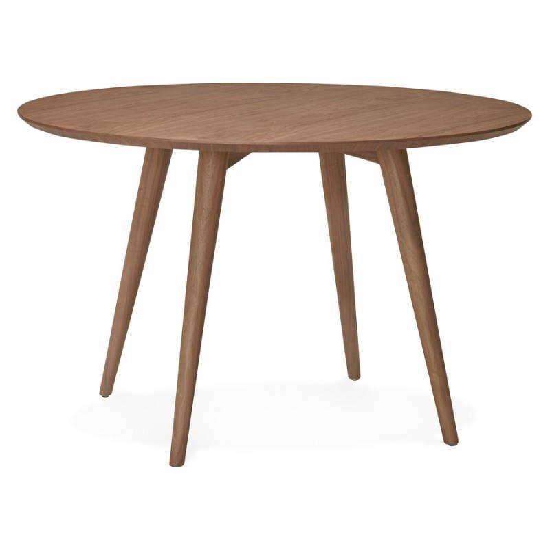 Table de repas ronde vintage style scandinave SOFIA en bois (Ø 120 cm) (finition noyer)
