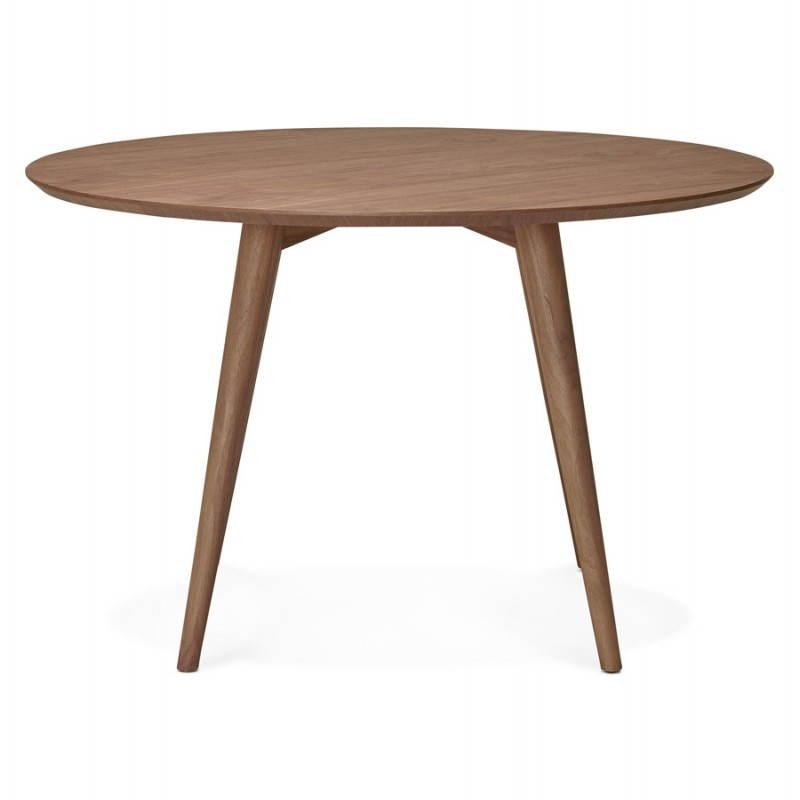 Table de repas ronde vintage style scandinave SOFIA en bois (Ø 120 cm) (finition noyer) - image 27948