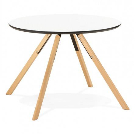 Round table Scandinavian BIBA in wood and beech (Ø 100 cm) (white)