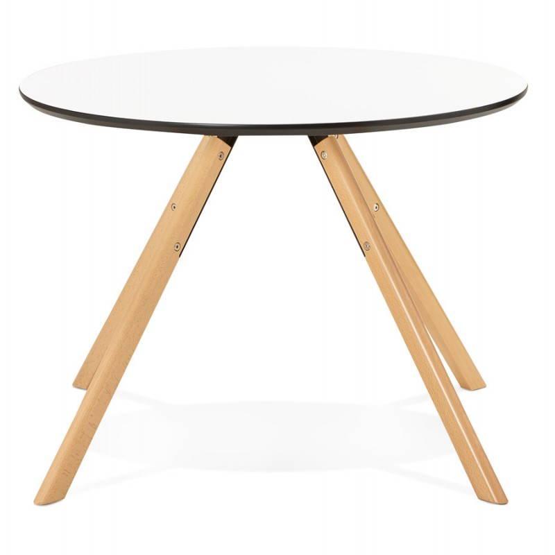 Table de repas ronde scandinave BIBA en bois et h u00eatre ( u00d8 100 cm) (blanc) # Table Ronde Bois Et Blanc