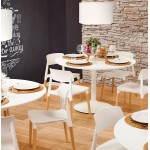Mesa de comedor redonda de diseño escandinavo RAYA en madera y pintado de metal (Ø 120 cm) (blanco)