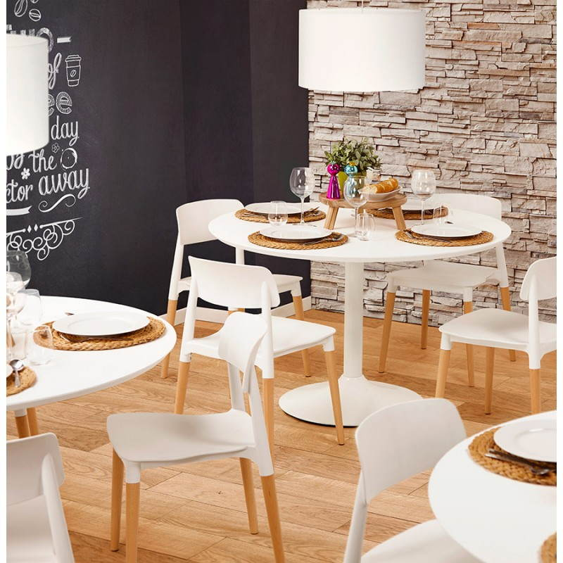 Dining table round design Scandinavian STRIPE in wood and painted metal (Ø 120 cm) (white) - image 27983