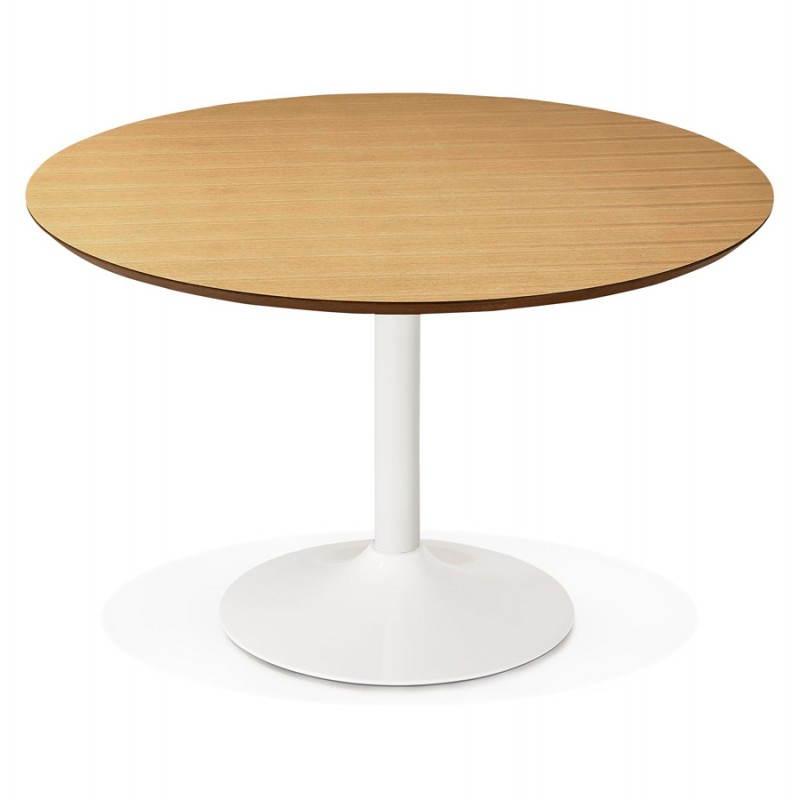Table de repas ronde design scandinave GALON en bois et métal peint (Ø 120 cm) (naturel, blanc) - image 27986