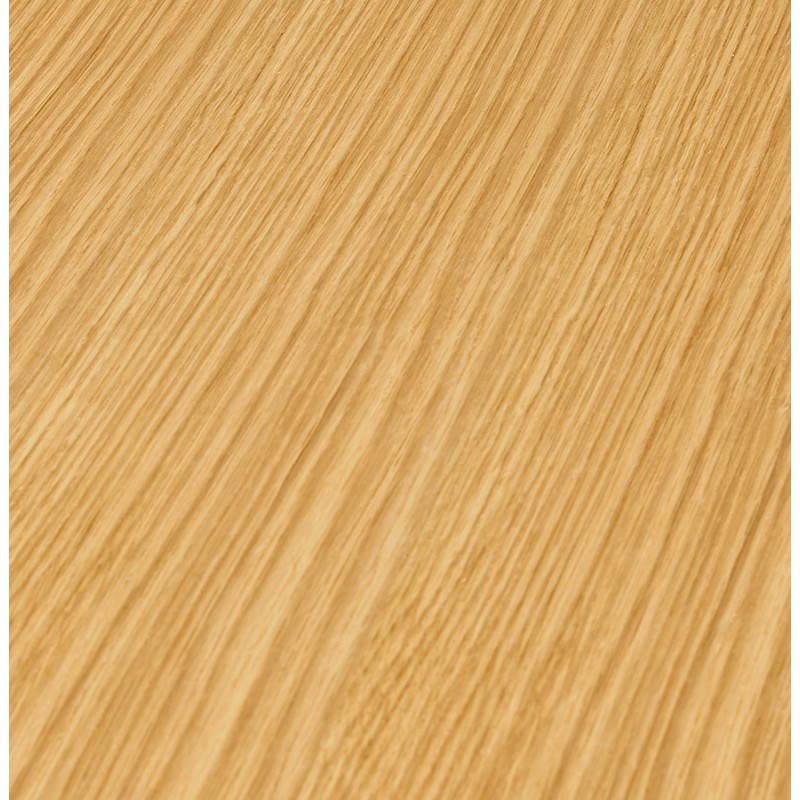 Table de repas ronde design scandinave GALON en bois et métal peint (Ø 120 cm) (naturel, blanc) - image 27987