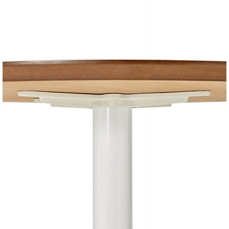 Dining table round design Scandinavian STRIPE in wood and painted metal (Ø 120 cm) (natural, white) - image 27990